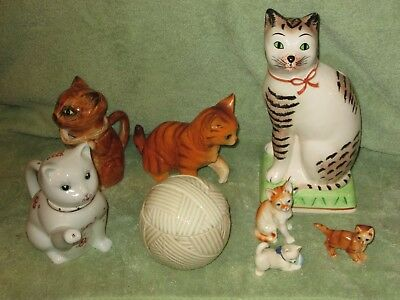 Lot 13-- Cat Lot Mann Lefton Made In China Teapot Wall Pocket Ball Of Yarn ++