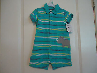 NWT Child of Mine Boy's 6-9 Months Short Sleeve Short Romper Rhino Aqua Striped