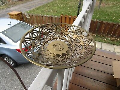 "Rare+Vintage 10""  Oriental Solid  Brass Bowl With Cutout Pierced Design~Lovely!!"