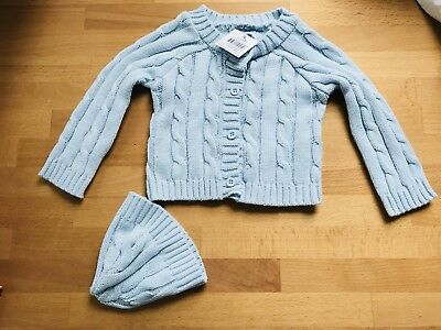 NWT Newborn Mudpie Cable Knit Sweater And Hat Set 0-6M Baby Blue