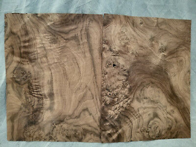 "Walnut Burl Wood Veneer Sheets - 2 @ 8 1/2"" x 10 1/2"" inches - Raw-No Backer"