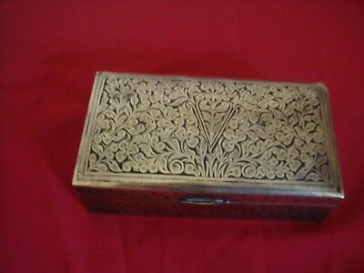 Antique Middle Eastern Brass Box Champleve Etched  Black Cloisonne / Niello E