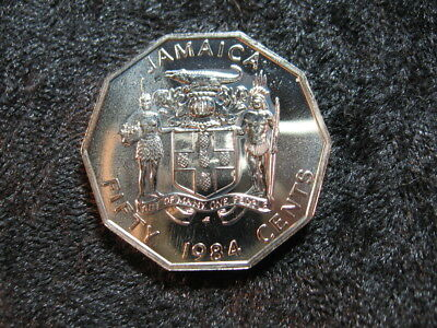 1 old world Special UNC coin JAMAICA 50 cents 1984 KM70 Marcus Garvey FREE S&H