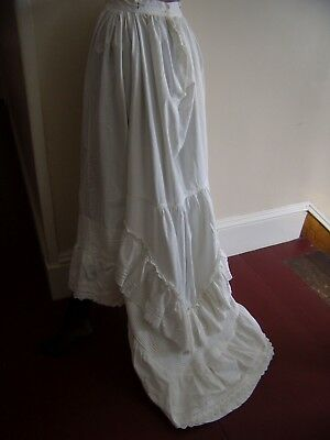 Vintage cotton Petticoat with Train, pintucks, ruffles & eyelet lace- lovely- GC