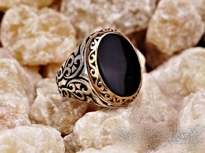 Handmade 925 Sterling Silver Jewelry Black Onyx Gemstone  Men's Ring