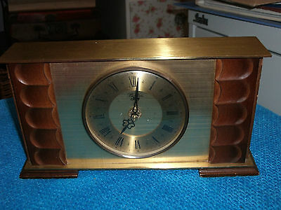 VINTAGE MANTLE CLOCK with MODERN MOVEMENT ~ METAL & WOOD CASE ~ WORKING