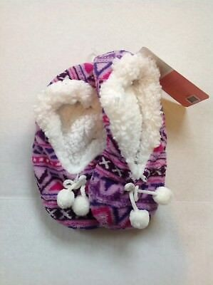 Womens Large XLarge Ballerina Cozy Sherpa Non Skid Purple Pink Slipper Socks