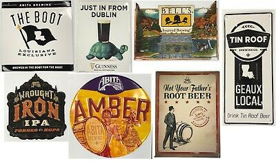 7 Metal Signs From Guinness, Bell's, Abita, Tin Roof And Small Town Breweries!!!