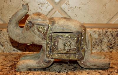 "Wooden w/Brass & Copper ELEPHANT  INDIA w/ BELLY Drawer in Side 10"" Hand Carverd"