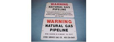 CITIES SERVICE NORTHWEST CENTRAL PIPELINE GAS WARNING SIGN LOT 2 pcs OKLAHOMA OK
