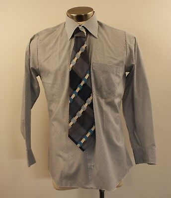MEDIUM, ORIGINAL VINTAGE 1970s MENS SHIRT & TIE.