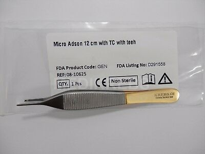"""Micro Adson with Teeth 5"""" (12 cm) with Tungsten Carbide German Steel """"KREBS"""""""