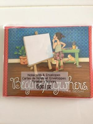 """New in Package Mary Engelbreit notecards set of 6 """"Begin anywhere-just begin"""""""