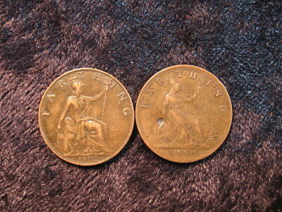 """2 old world coin lot GREAT BRITAIN farthing 1895 1902 """"Britannia"""" FREE S&H"""