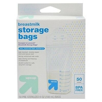 50-Count Breastmilk Storage Bags 6OZ Up & Up New Pre-Sterilized BPA-Free BNIB