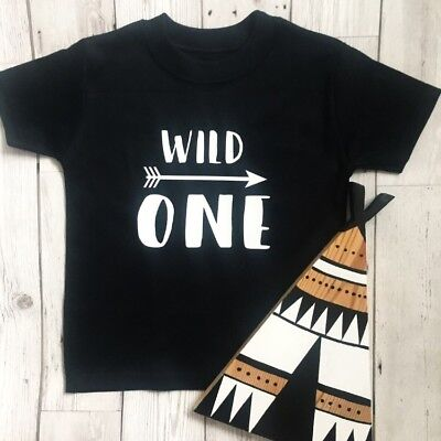 Baby Boy Girls 1st First Birthday Top Vest TShirt Outfit Wild One