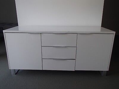 Office/Home Credenza/Cabinet 2 Doors 3 Drawers White Melamine 36082/30