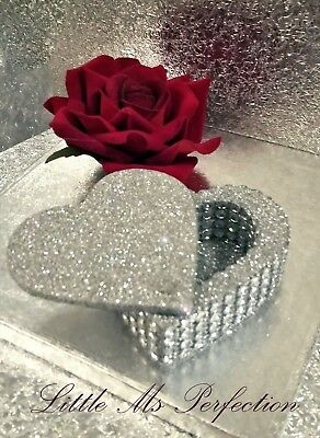 Sparkling Glitter & Diamante Effect Wooden Heart  Ring Box - Wedding, Gift,