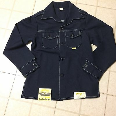 Men's Hot Dogs by Mann 70's NAVY BLUE Polyester LEISURE SUIT Jacket 34 SMALL TAG