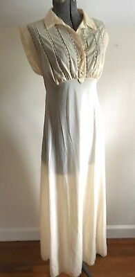 1940's Vanity Fair Nightgown Nylon pale peachy yellow inset lace size 34