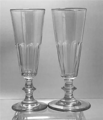2 Antique 19th C Free Blown Cut Champagne Flutes w Knopped Stems  #1