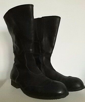 COMME DES GARCONS Womens Black Leather Biker Boots Size JP 24.5, US 8.5, EU 39