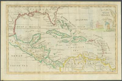 """1770 -  Original Antique Map """"WEST INDIES"""" by T KITCHIN Hand coloured"""