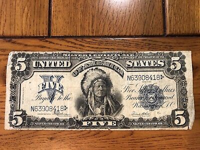 1899 $5 Indian Chief Large Currency Silver Certificate Nice Fine Attractive Note