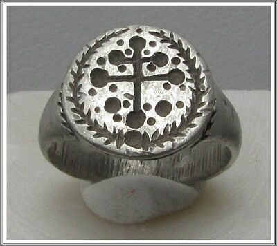 Ancient Silver Byzantine  Ring ** CROSS **AMAZING**RARE**