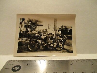 """Vintage Norton Motorcycle Photograph With Rider """"Free Shipping"""""""