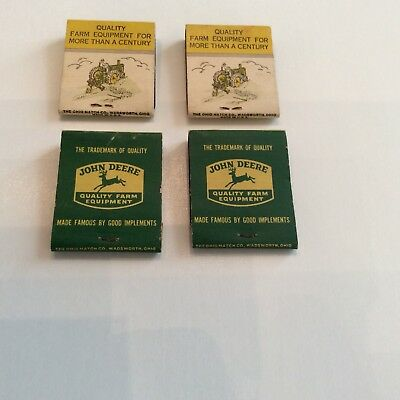 ((4) Vintage JOHN DEERE Tractor Advertising Matchbook Cleveland, Mississippi