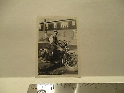 """Vintage Harley Davidson Motorcycle Photograph With Rider """"Free Shipping"""""""