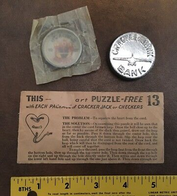 3 Vintage Cracker Jack Toys: Heart Puzzle, Unopened Clown Toy, Bank