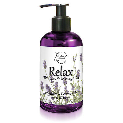 Relax Therapeutic Massage Oil – with Lavender & Peppermint Essential Oils