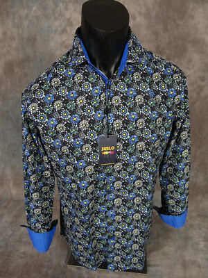 Mens SUSLO COUTURE Shirt Black w/ Muted Turquoise Florals Slim Fit Button Front