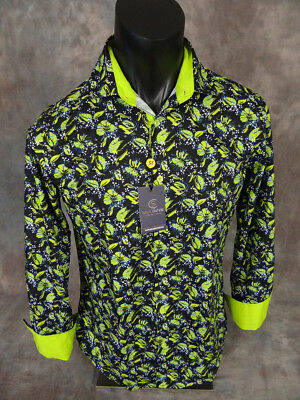 Mens SUSLO COUTURE Shirt Black w/ Neon Green Florals Slim Fit Button Front
