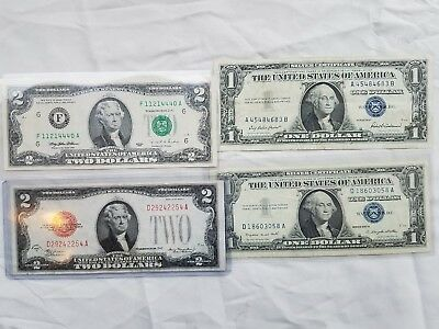 4 Paper Currency GROUP LOT 1928 D $2 Bill  TWO $2 BILLS, TWO $1 BILLS SILVER CER