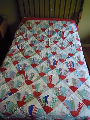 "Vintage Handmade Cotton Fan Quilt, Red White & Multi-Color, 67"" x 88"""