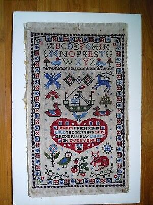 "Antique Dutch Linen Friendship/Alphabet Cross-Stitch Sampler 16"" x 27"" Signed"