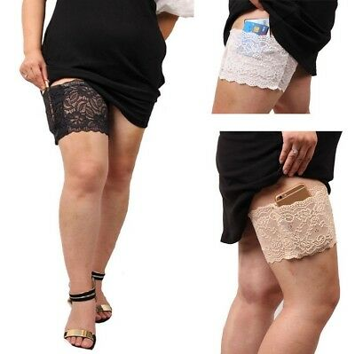 Non Slip Lace Floral Elastic Socks Anti-Chafing Thigh Pocket Bands Legs Warmers