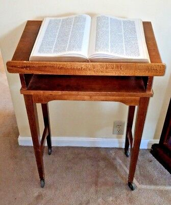 VINTAGE WOOD DICTIONARY Podium Lectern Book Bible Display Stand With Awesome Bible Display Stand