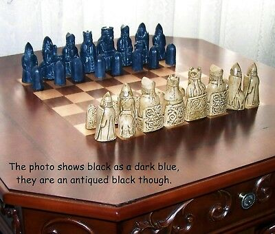 **set 1 & Set 2 Hand Cast & Painted Copy Of The Original 'lewis Chess Set'**