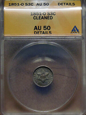 1851-O 3CS Three Cent Silver ANACS AU-50 cleaned