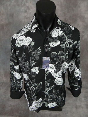Mens SUSLO COUTURE Shirt Black White Gray Muted Florals Slim Fit Button Front