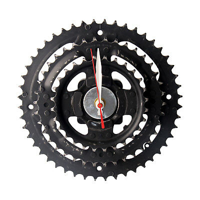 Handmade Black Bicycle Triple Gear Set Wall Clock Recycled Parts Unique Design