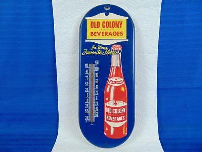 Vintage Old Colony Beverages Soda Pop Thermometer Sign.very Nice!
