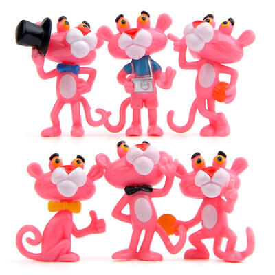 Pink Panther Movie Cute Doll 6PCS Action Figure Kids Gift Cake Topper Statue Toy