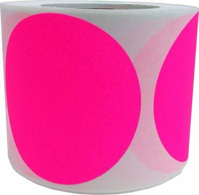 Fluorescent Pink Circle Stickers, 4 Inches Round, 500 Labels on a Roll