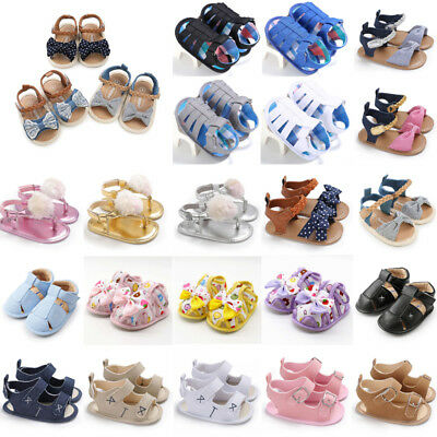 Summer Newborn Baby Slip-on Sandals Boy Girl Crib Shoes Sneaker Prewalker 0-18M