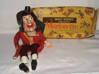 Rare Vintage Walt Disney Peter Puppet Playthings Captain Hook Marionette + Box